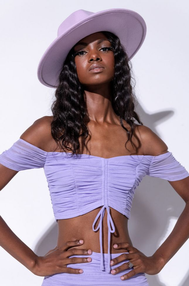 Front View Baby Doll Ruched Off The Shoulder Blouse