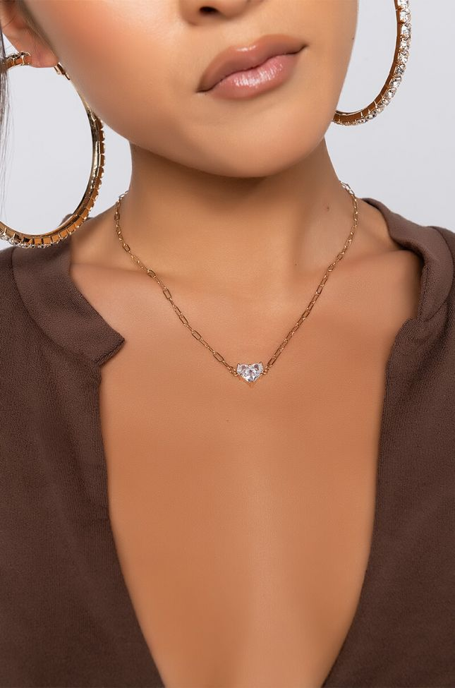 Front View Baby Shark Heart Necklace in Gold