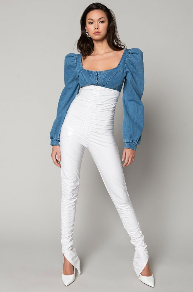 Front View Back It Up Vinyl Slit Pants in White