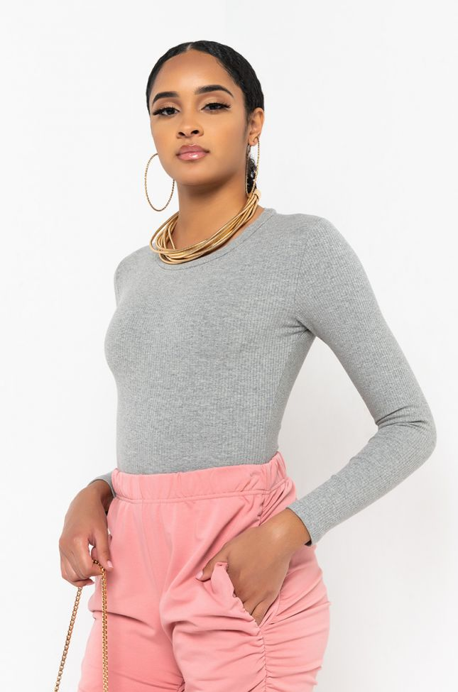 Front View Back On Board Long Sleeve Bodysuit in Heather Grey