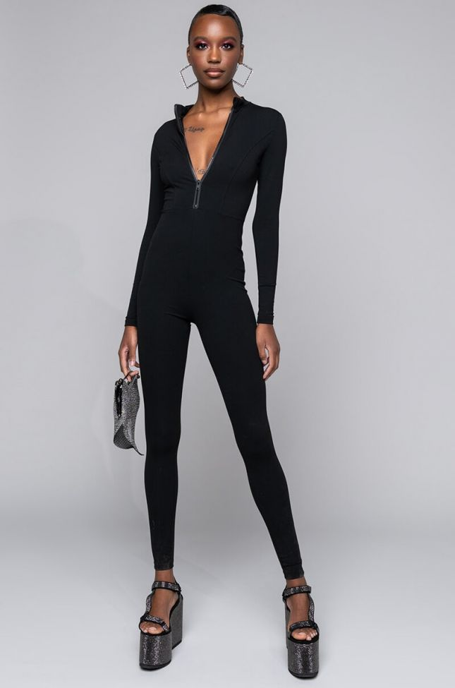 Front View Back To Basics Long Sleeve Front Zip Long Sleeve Jumpsuit in Black