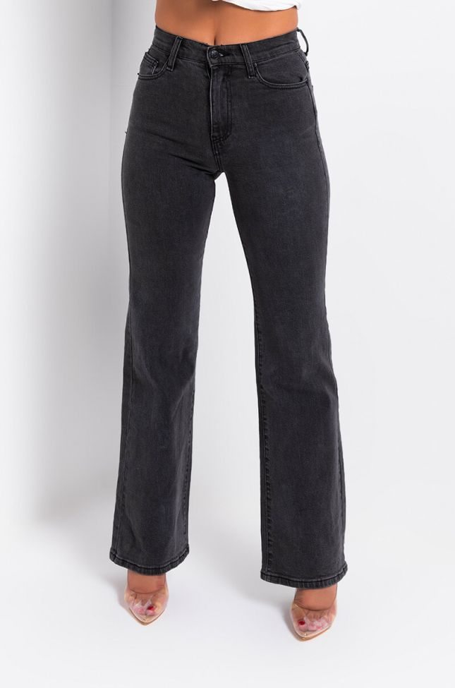 Front View Back To Me High Rise Relaxed Jeans in Black