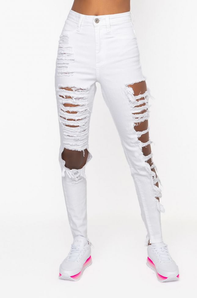Front View Back To Me Skinny Jeans in White