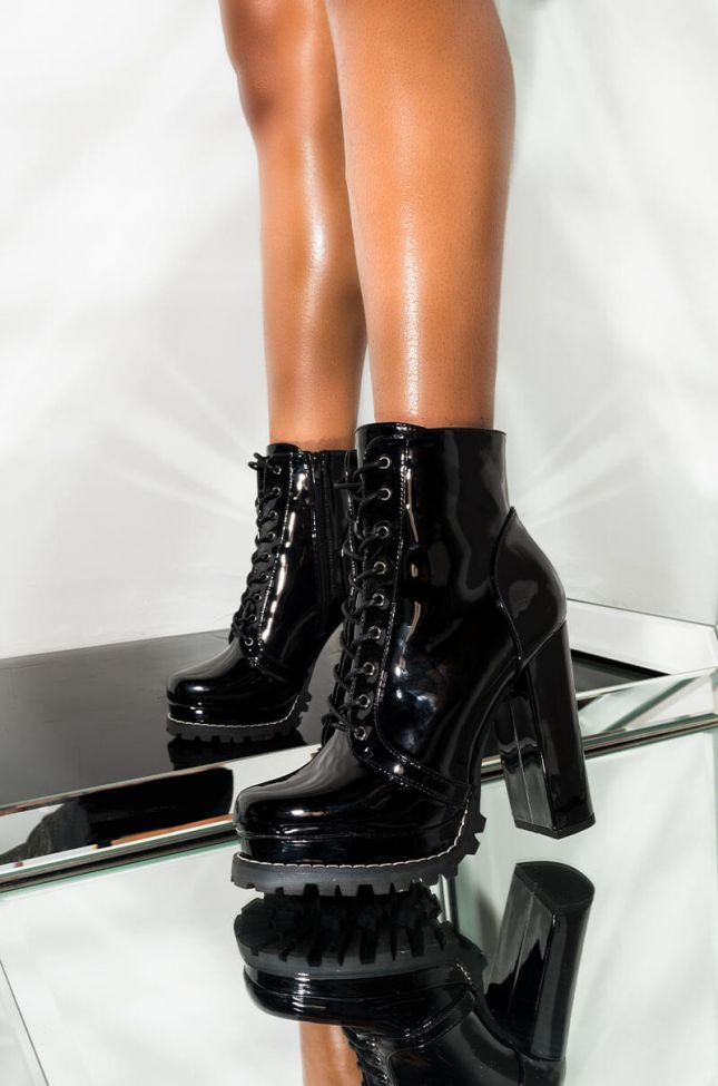 Front View Badass Platform Lace Up Bootie in Black Patent