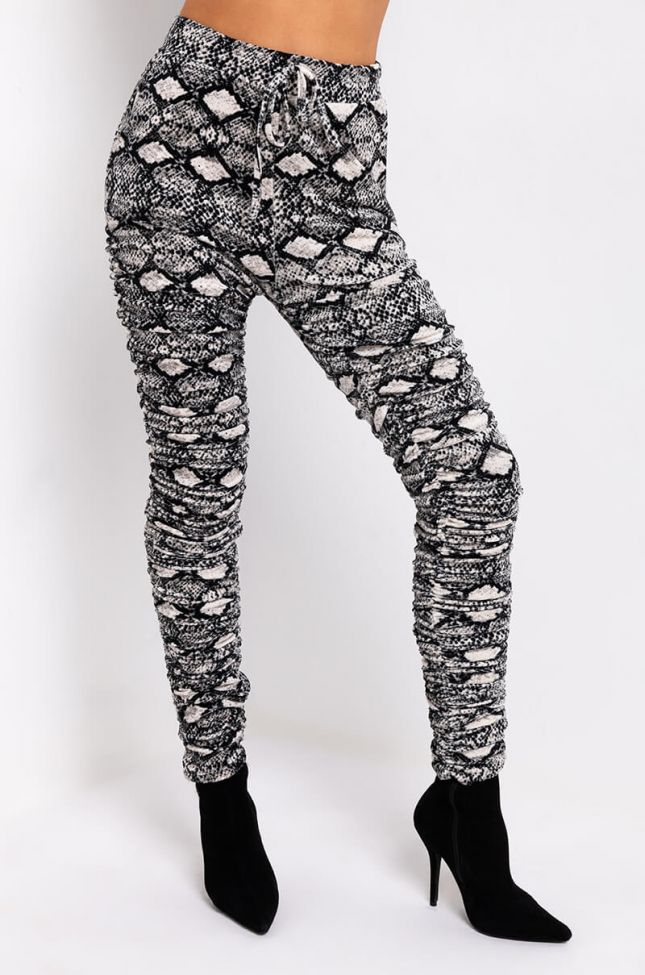 Front View Badass Snake Bitch Stacked Jogger in Ivory Multi
