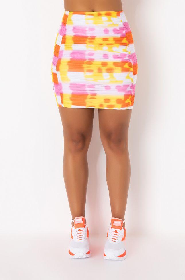 Front View Bahama Breeze Mini Skirt in Yellow Multi