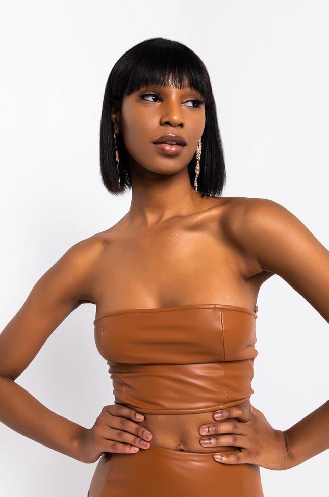 Front View Barbie Doll Faux Leather Cropped Top in Rust