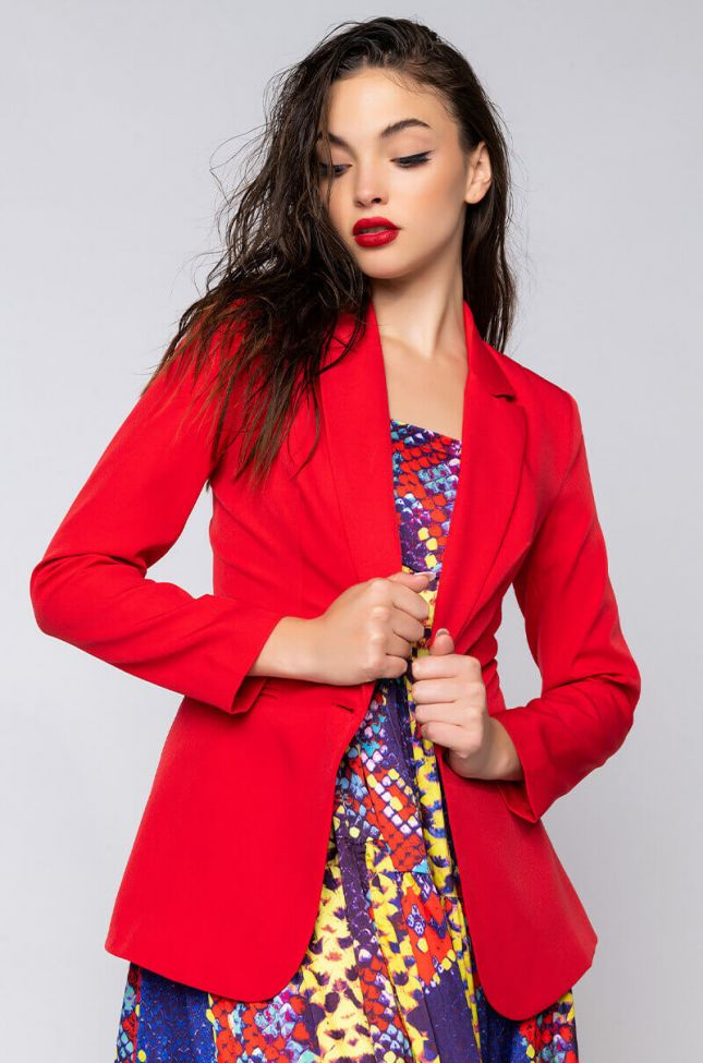 Front View Barbie Girl Fitted Blazer in Red