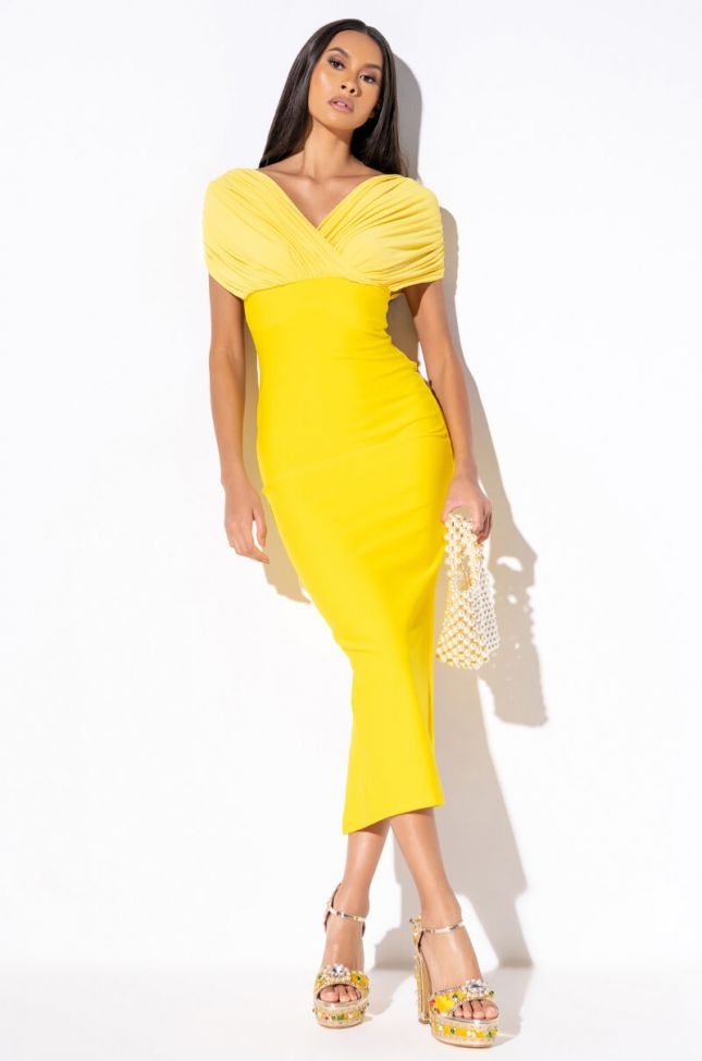 Front View Bardot Vibez Event Maxi Dress in Yellow