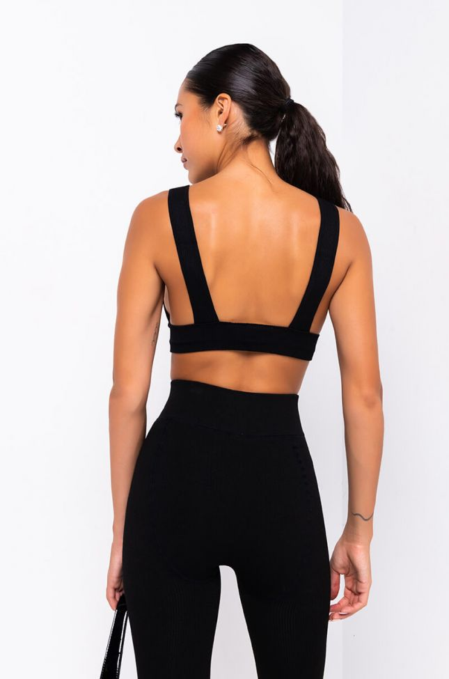 Detail View Barely There Seamless Rib Scoop Neck Crop Top in Black