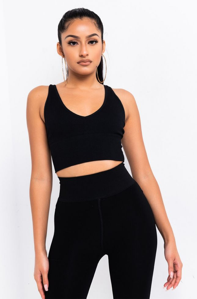 Front View Barely There Seamless Rib Tank Top in Black