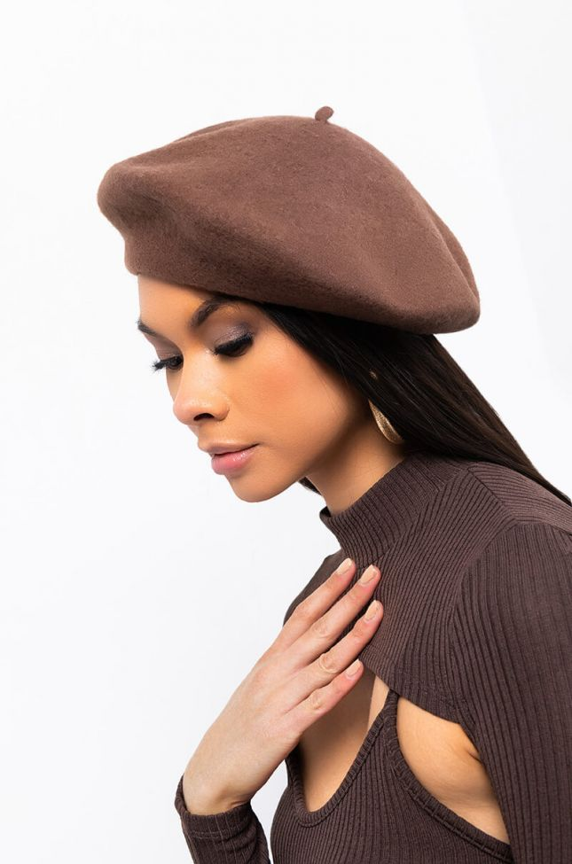 Front View Basic Beret in Brown