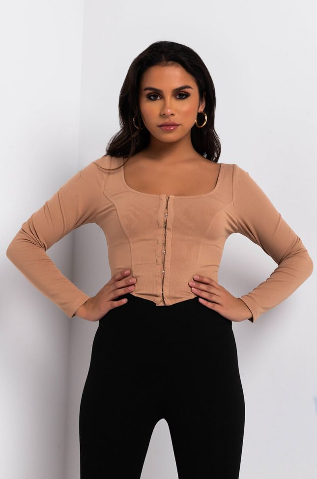 Front View Basic But Make It Fashun Long Sleeve Corset Top in Beige
