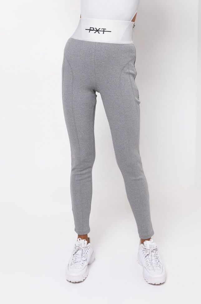 Front View Basic Lux Rib Legging in Grey
