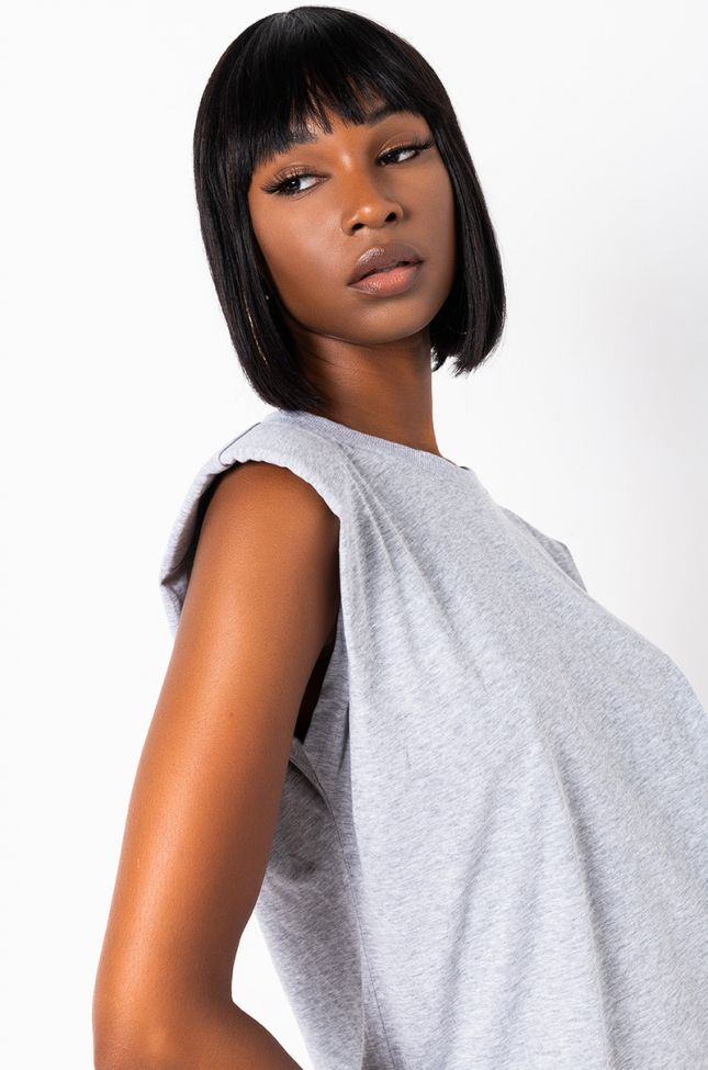 Front View Batter Up Sleeveless Casual Flowy Top in Heather Grey
