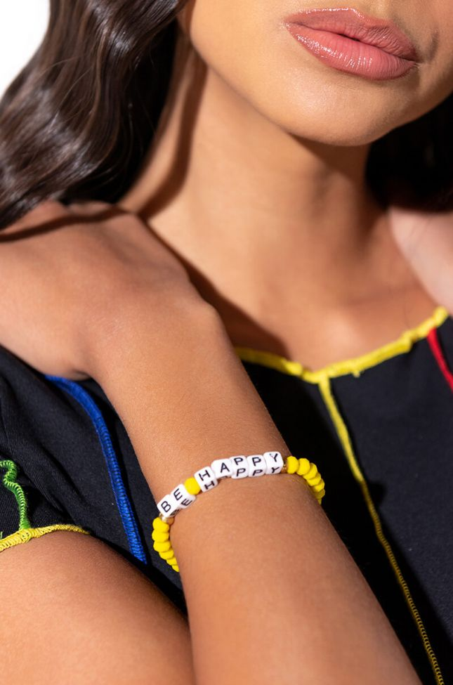 Front View Be Happy Bracelet in Yellow