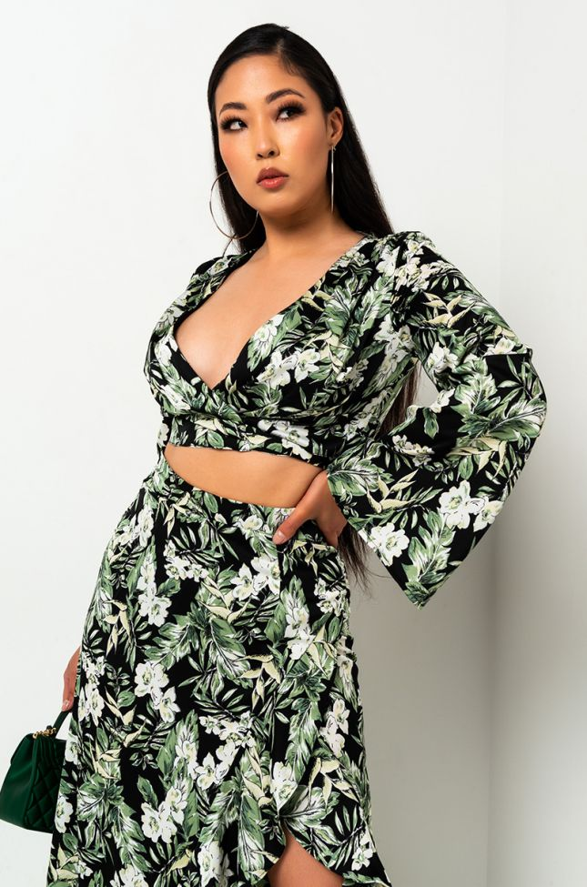 Front View Be Honest Tropical Print Wrap Top in Green Multi