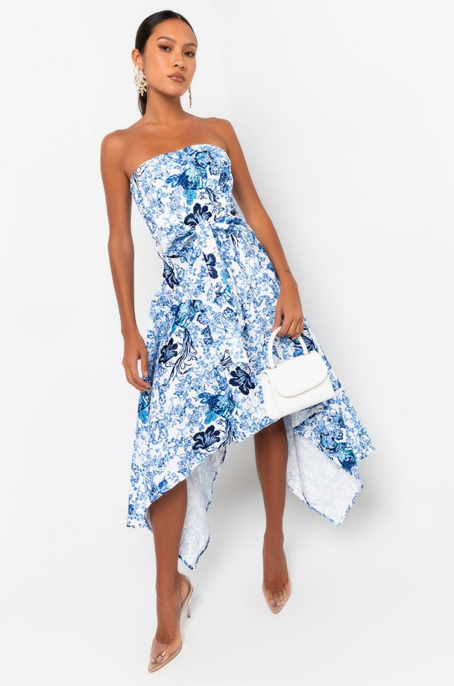 Front View Be Nice Tube Asymmetrical Midi Dress in Blue