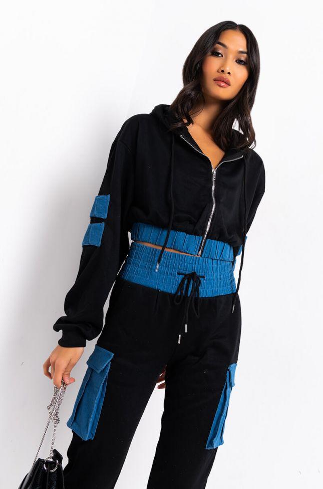 Front View Beatrix Denim Detail Sweatshirt in Black Multi