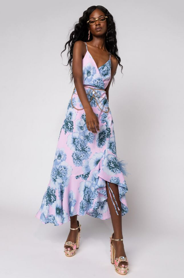 Front View Beautiful Soul Maxi Dress With Slit in Blue Multi