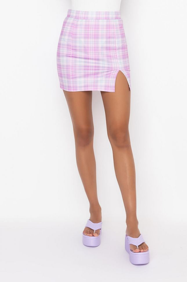 Front View Because I Can Mini Plaid Skirt in Pink Multi