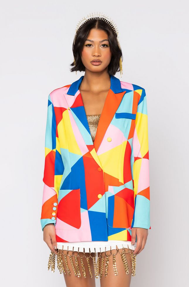 Side View Because Im Happy Printed Abstract Blazer in Yellow Multi
