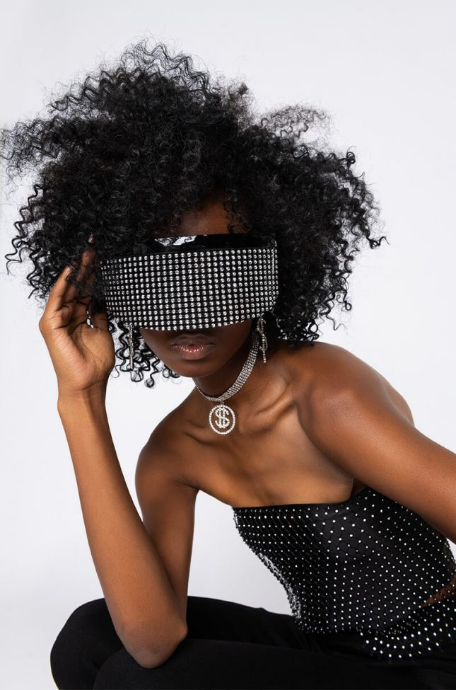Front View Bedazzled Rhinestone Shield Sunnies in Black Multi