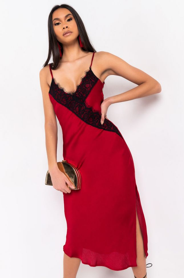 Front View Bedroom Eyes Lace Detail Midi Dress in Black Red