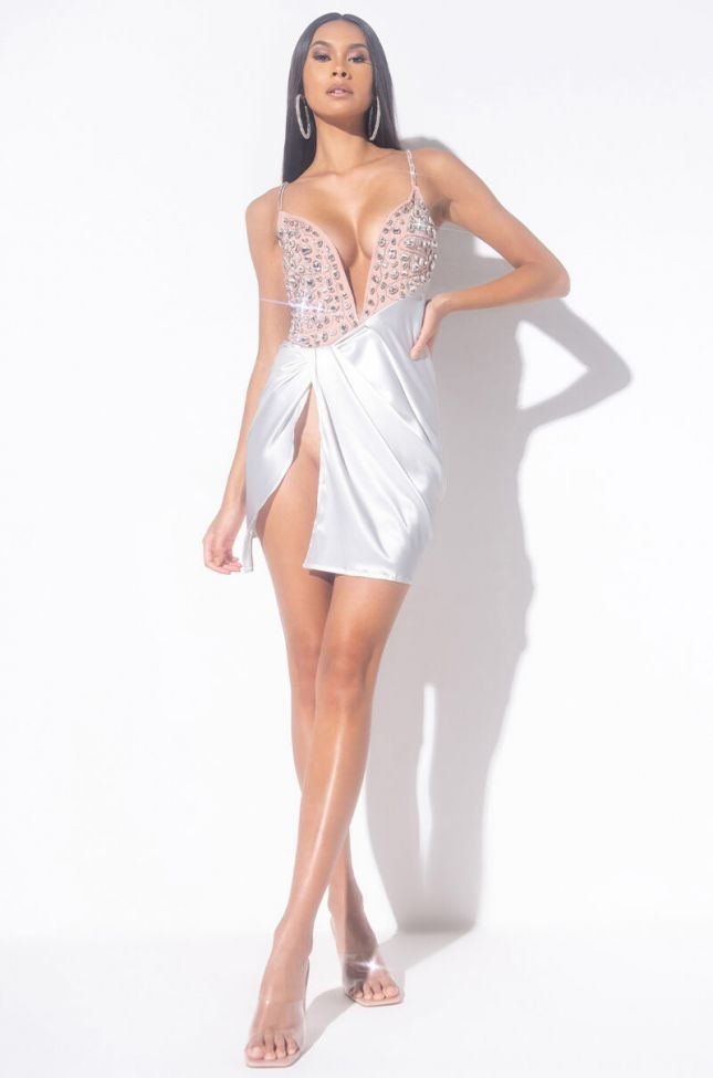 Bejeweled Mini Dress in White Multi