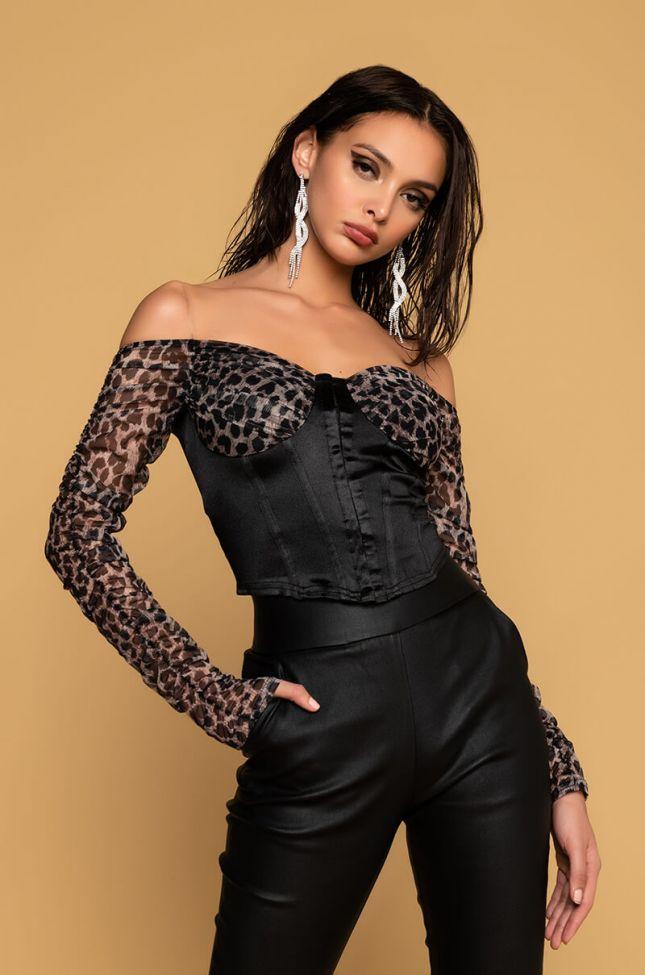 Front View Belita Leopard Print Corset Top in Black Multi