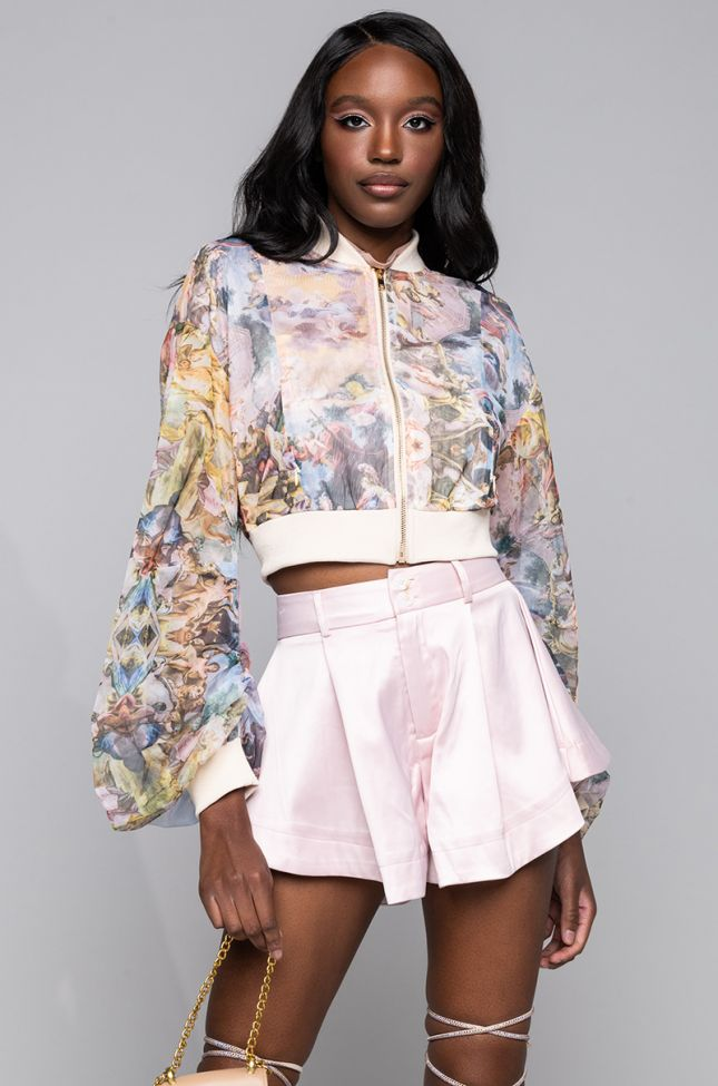 Side View Bella Luna Sheer Stacked Arm Bomber in Multi