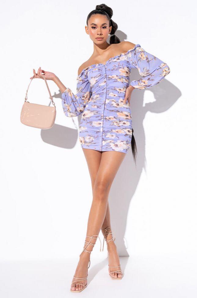 Best Dressed Mini Ruched Long Sleeve Off The Shoulder Dress in Blue Floral