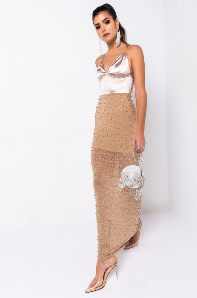 Front View Best Dressed Rhinestone Maxi Dress in Light Brown