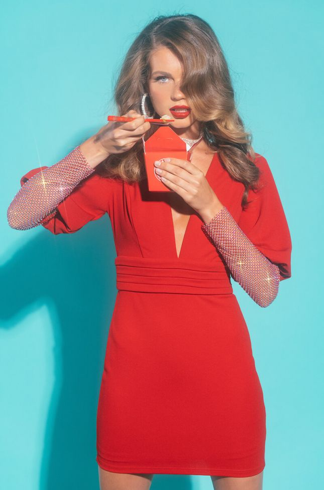 Front View Best Memory Mini Dress With Rhinestone Sleeves in Red