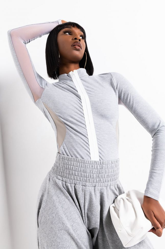 Front View Bet You Sporty Zipper Detail Long Sleeve Bodysuit in Heather Grey