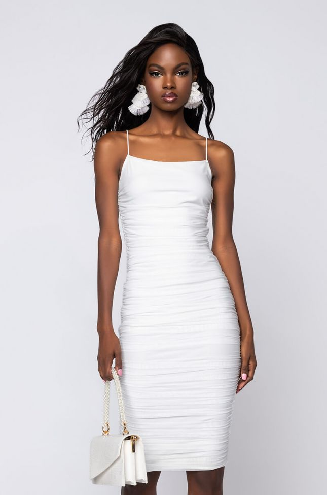 Front View Better Left Unsaid Ruched Midi Dress in Ivory