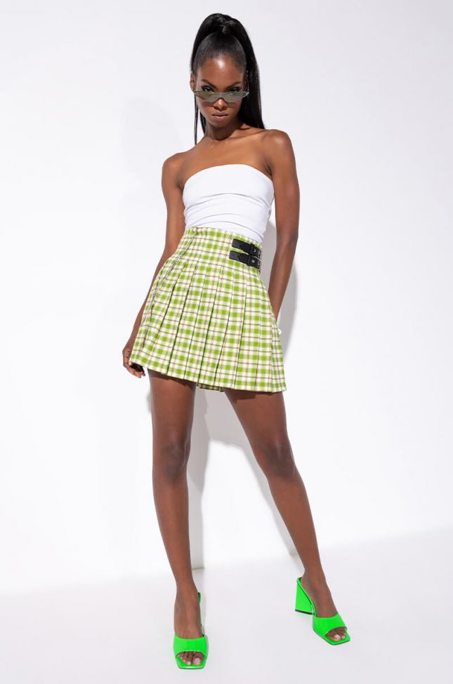 Full View Better Luck Next Time Pleated Mini Skirt in Green Multi