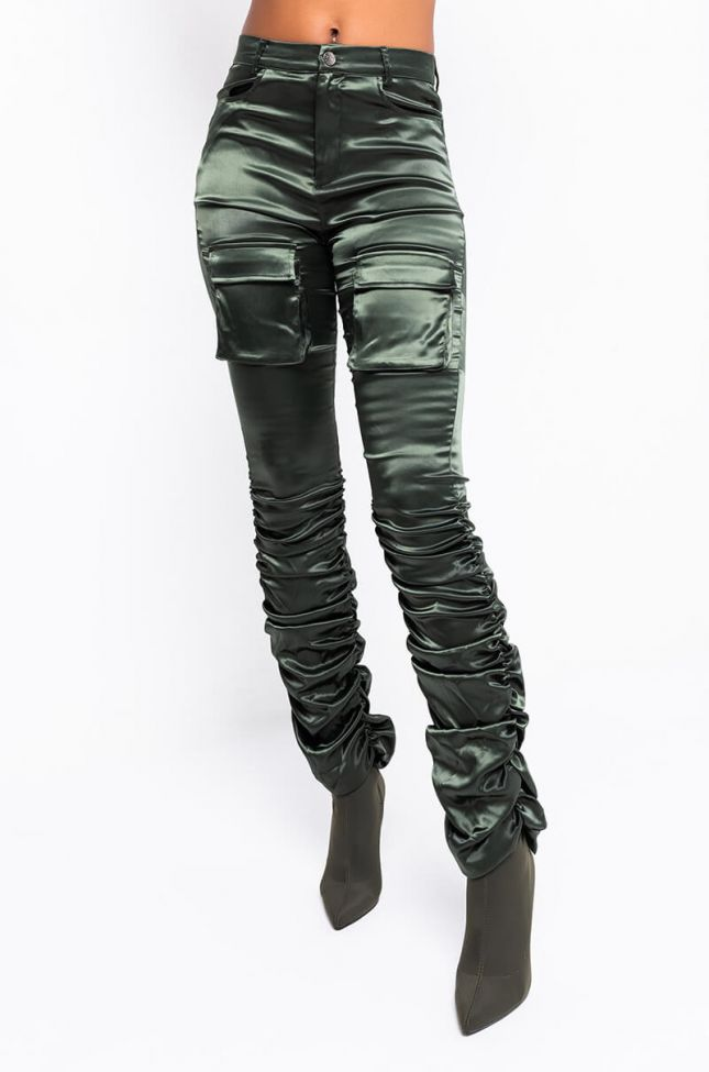 Front View Better Me High Waisted Stretchy Scrunched Ankle Pants in Olive