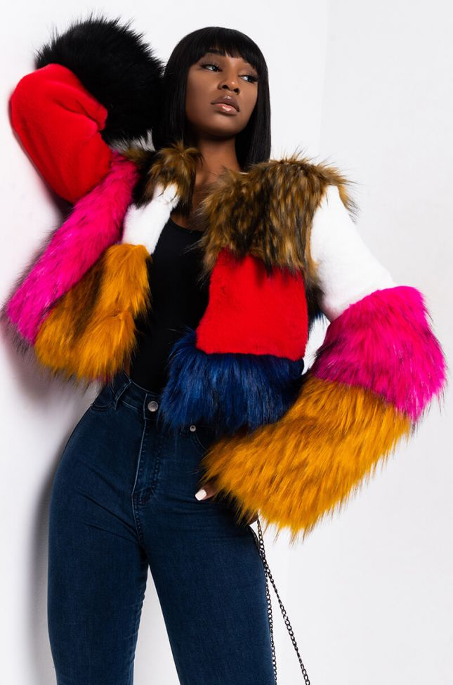 Front View Better Than Ever Multi Fur Coat in Multi