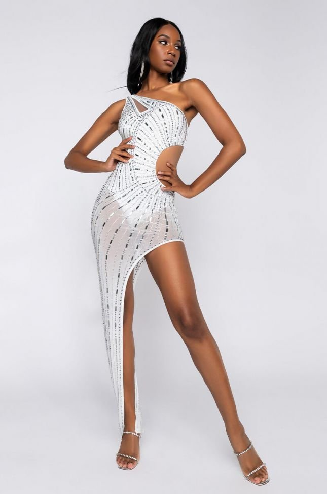 Side View Better Than You Rhinestone Maxi Dress in White