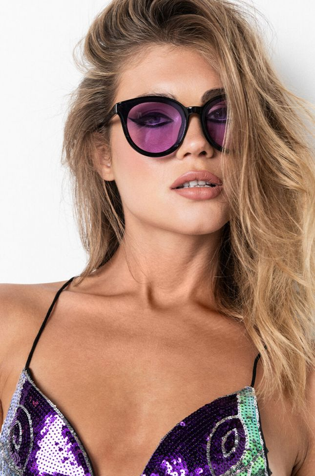 Front View Betty Round Sunnies in Purple
