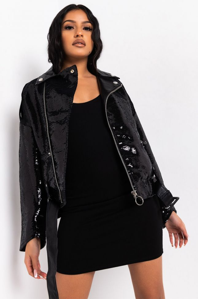 Front View Bf Moto Sequin Jacket in Black