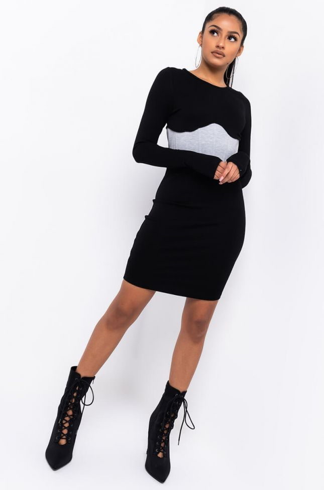 Full View Bianca Corset Detail Mini Dress With Thumb Holes in Black Multi