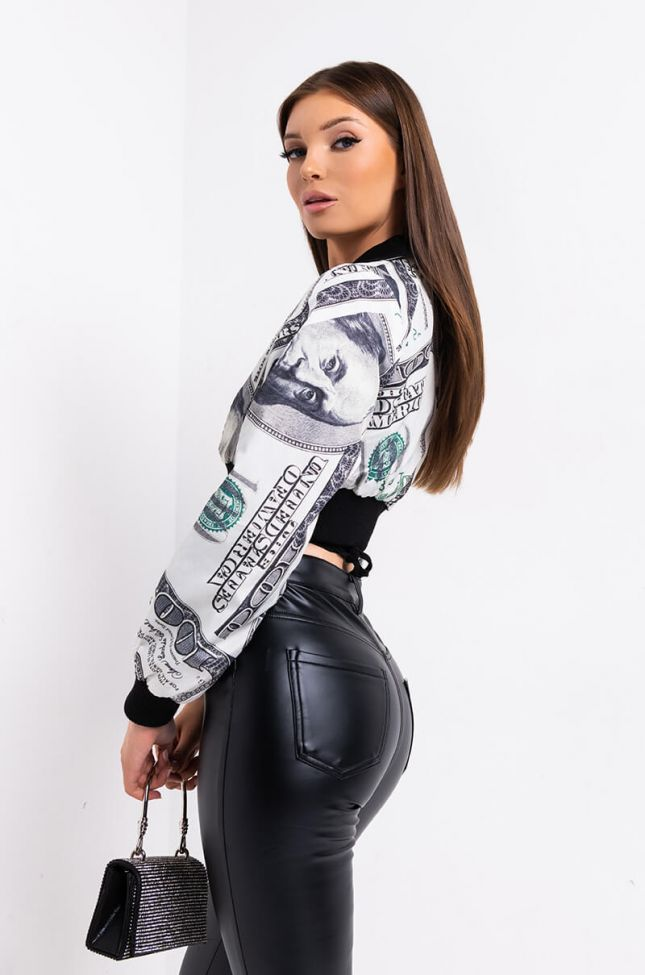 Side View Big Benjamins Long Sleeve Cropped Jacket in Black Multi
