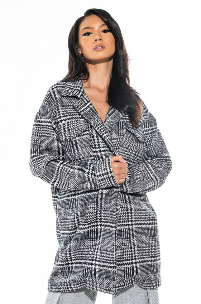 Front View Bing Plaid Long Jacket Trench