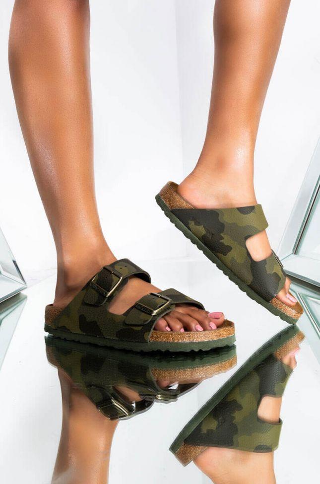 Front View Birkenstock Arizona Desert Soil Khaki Camo Two Strap Sandals in Camo