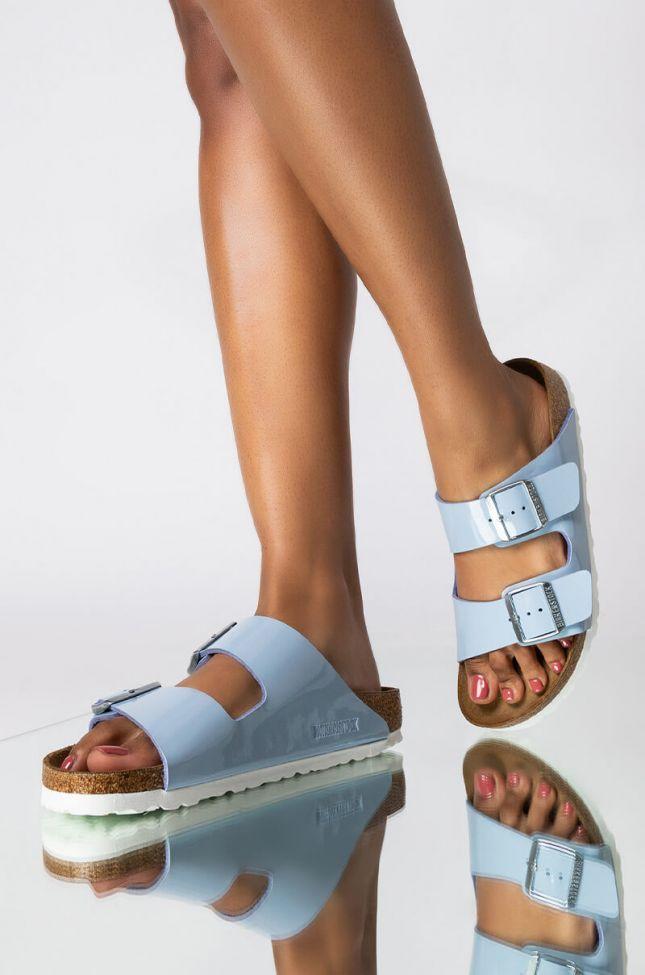 Front View Birkenstock Arizona Dove Blue Patent Birko-flor Sandal in Blue
