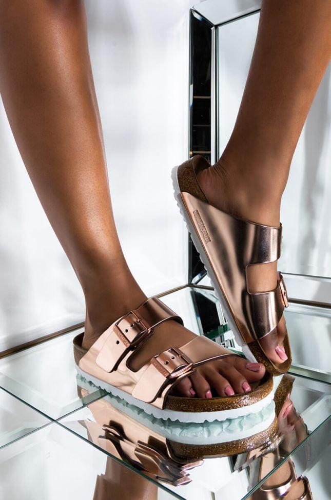 Front View Birkenstock Arizona Metallic Leather Sandal in Metallic Copper