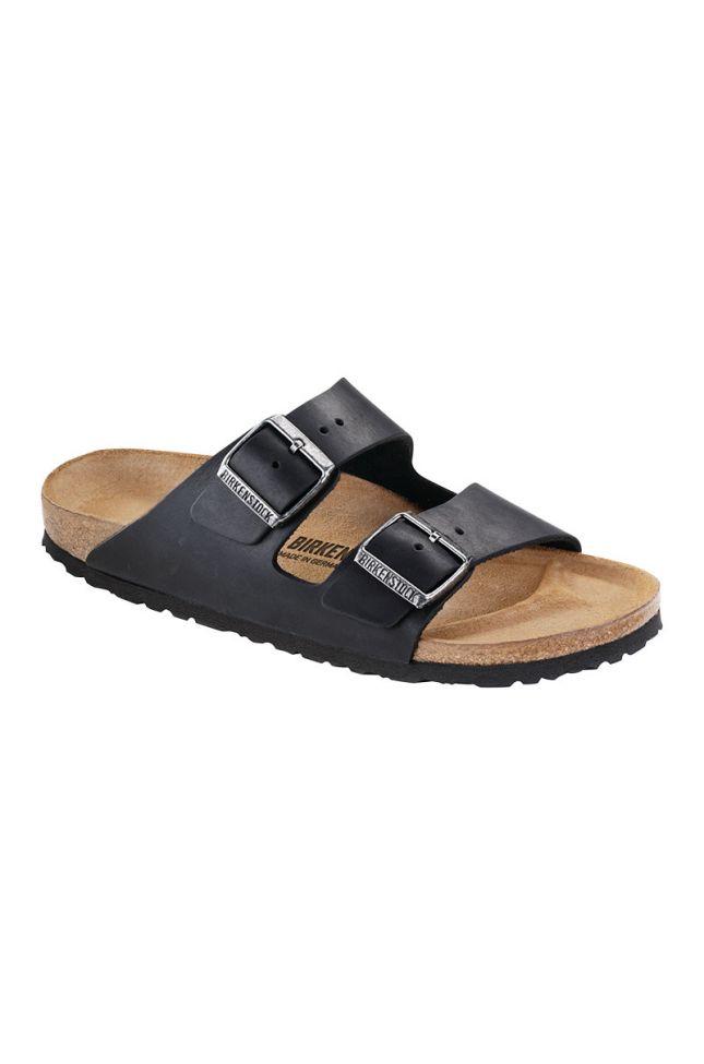 Side View Birkenstock Arizona Narrow Oiled Leather Sandal in Black