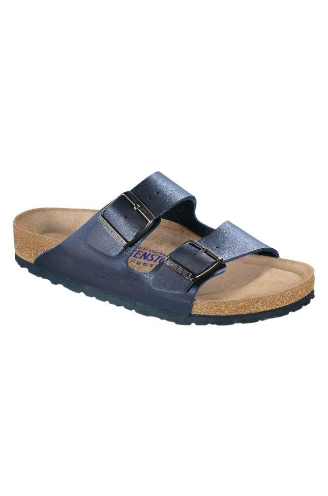 Side View Birkenstock Arizona Soft Footbed Birko-flor Sandal in Blue